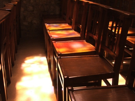 Light and chairs, L'eglise St Jean, Saint Amand, Normandy